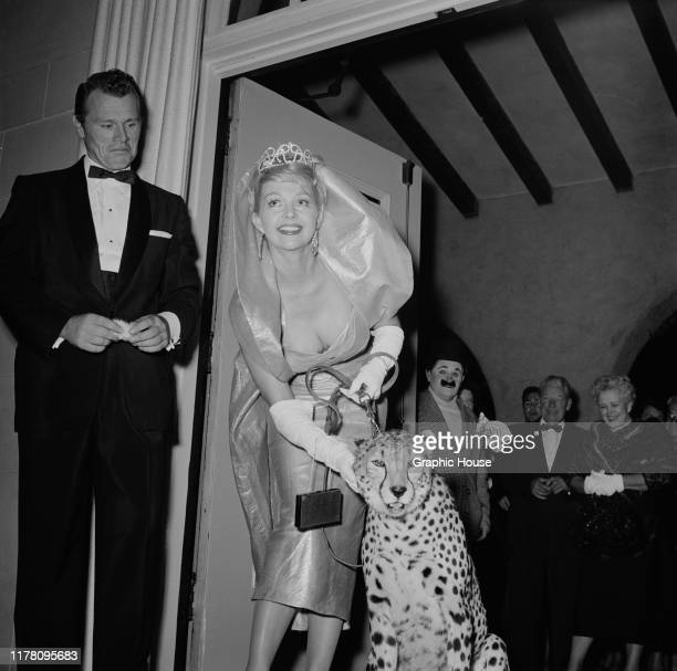 Danish actress and model Greta Thyssen attends the Publicists' Ballyhoo Ball in Los Angeles USA with a pet cheetah circa 1955
