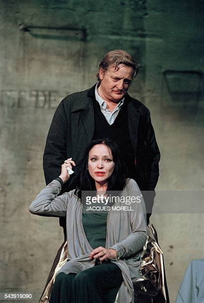 Danish actress Anna Karina and French actor Bruno Cremer in the play Apres la repetition written by Swedish Ingmar Bergman