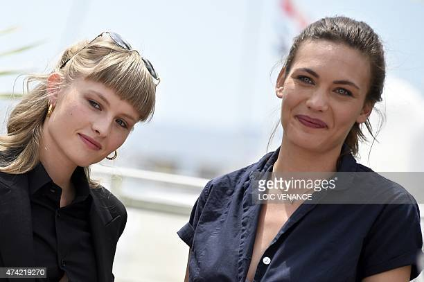 Danish actress Klara Kristin and Swiss actress Aomi Muyock pose during a photocall for the film Love at the 68th Cannes Film Festival in Cannes...