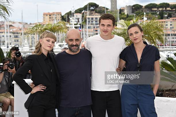 Danish actress Klara Kristin Argentinian director Gaspar Noe US actor Karl Glusman and Swiss actress Aomi Muyock pose during a photocall for the film...