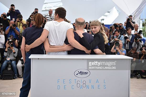Danish actress Klara Kristin poses with Argentinian director Gaspar Noe US actor Karl Glusman and Swiss actress Aomi Muyock during a photocall for...