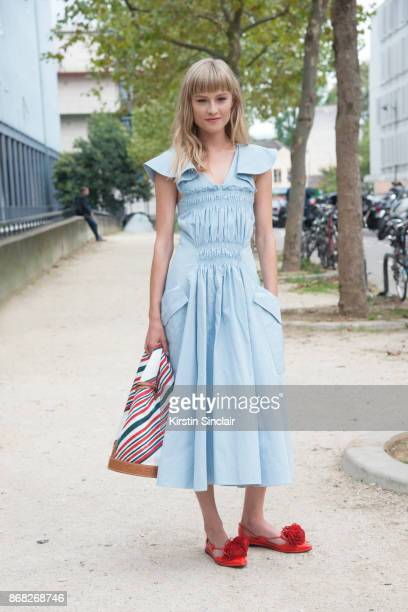 Danish actress Klara Kristin wears a Carven dress bag and shoes day 3 of Paris Womens Fashion Week Spring/Summer 2018 on September 28 2017 in Paris...