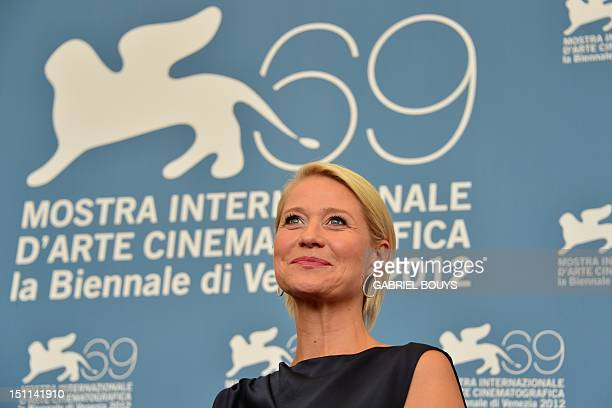 Danish actress Trine Dyrholm poses during the photocall of Den Skaldede frisor during the 69th Venice Film Festival on September 2 2012 at Venice...