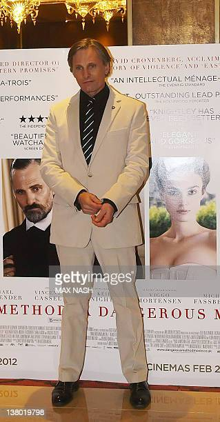 Danish American actor Viggo Mortensen poses during a photocall at the Gala Premiere of her film A Dangerous Method in London's Mayfair on January 31...