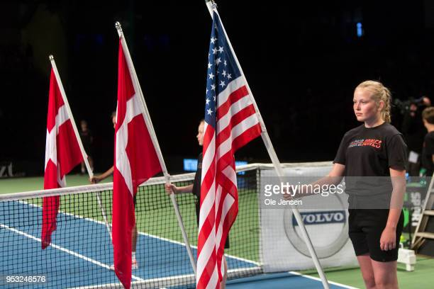 Danish and US flags prior to the exhibition match between Venus Williams of USA and Caroline Wozniacki of Denmark in Telia Park on April 30 2018 in...