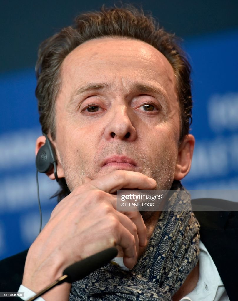 Danish authhor and screenwriter Kim Fupz Aakeson looks on during a press conference to present the film 'Becoming Astrid' (Unga Astrid) presented in the 'Berlinale special gala' category during the 68th edition of the Berlinale film festival in Berlin on February 21, 2018. / AFP PHOTO / Stefanie Loos
