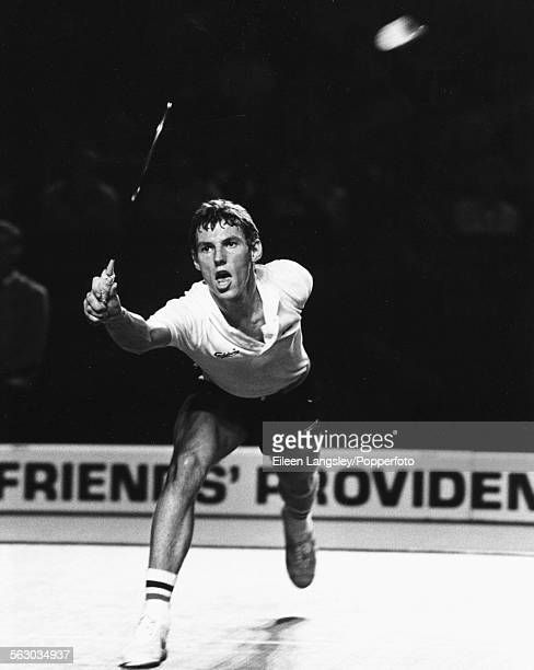 Danish badminton player Morten Frost Hansen in action, competing at the All England Badminton Championships, circa 1980.