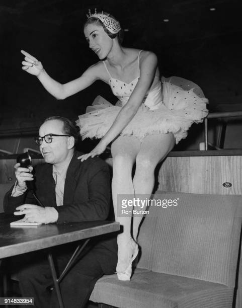 Danish ballet dancer Toni Lander with her husband choreographer Harald Lander as he directs a rehearsal of his new ballet 'Études' at the Royal...