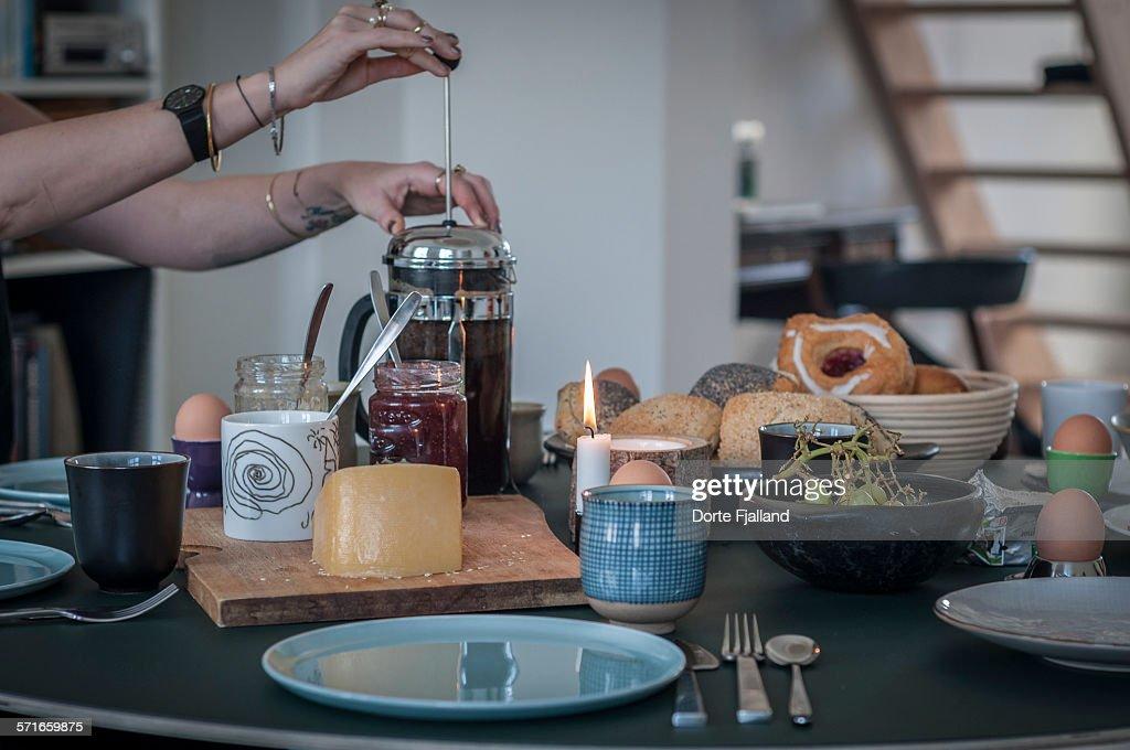 Danish breakfast table : Stock-Foto