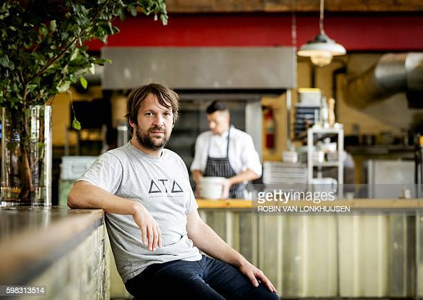 Danish chef Rene Redzepi coowner of the restaurant Noma in Copenhagen Denmark poses for a photograph prior to a premiere of 'Ants on a Shrimp' in...
