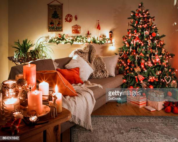 danish christmas tree with traditional decorations - christmas tree stock pictures, royalty-free photos & images