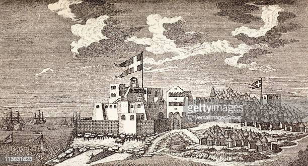 Danish colonial fort Fort Christiansborg now Osu Castle Accra Ghana as it was in 1760 The outpost to the right is Fort Provestenen From Afrika dets...