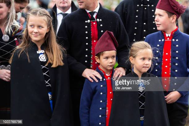 Danish Crown Prince familys children Princess Isabella Prince Vincent Princess Josephine and Prince Vincent during the Royal familys visit to...