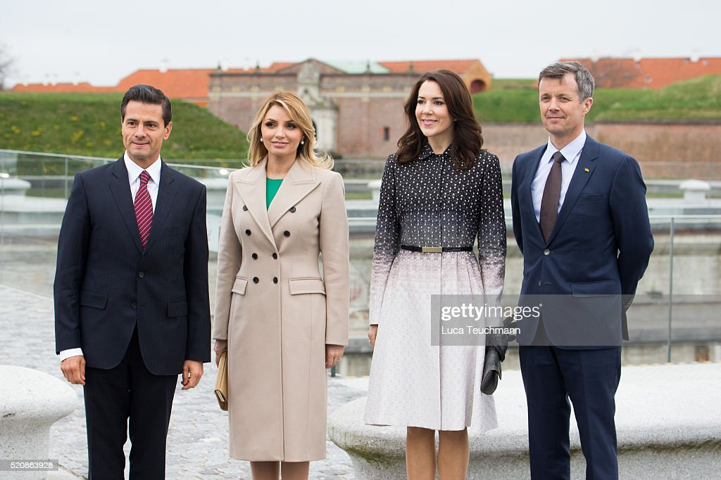 Danish Crown Prince Frederik and Crown Crown Princess Mary of Denmark greet Mexican President Enrique Pena Nieto and his wife Angelica Rivera during a visit from the United Mexican States on April 13, 2016 in Helsingor, Denmark.
