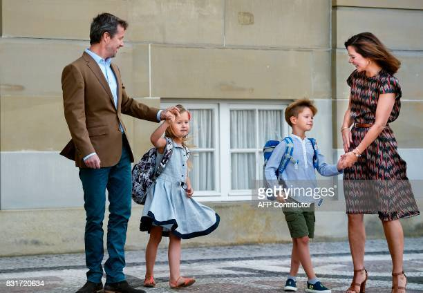 Danish Crown Prince Frederik and Crown Princess Mary pose with their twins Prince Vincent and Princess Josephine in front of Amalienborg Castle in...