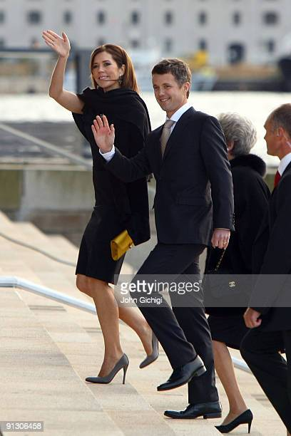 Danish Crown Prince Frederik and Danish Crown Princess Mary arrive to attend the Opening Ceremony of the 121st IOC Session at the Copenhagen Opera...