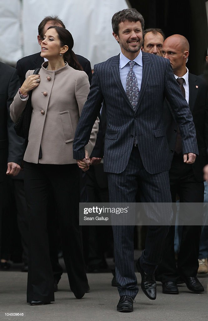 Danish Crown Prince Frederik and Danish Crown Princess Mary, who is pregnant with twins, walk in the city center on September 28, 2010 in Guestrow, Germany. Prince Frederik and Princess Mary are on a two-day visit to northern Germany.