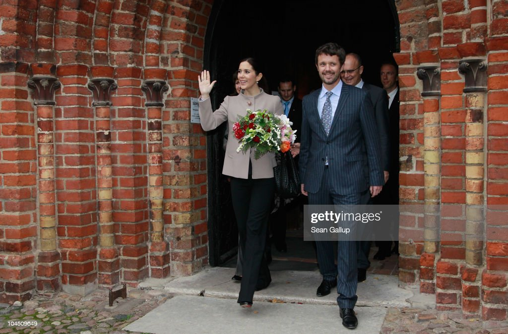 Danish Crown Prince Frederik and Danish Crown Princess Mary, who is pregnant with twins, exit the Dom church after visiting it on September 28, 2010 in Guestrow, Germany. Prince Frederik and Princess Mary are on a two-day visit to northern Germany.