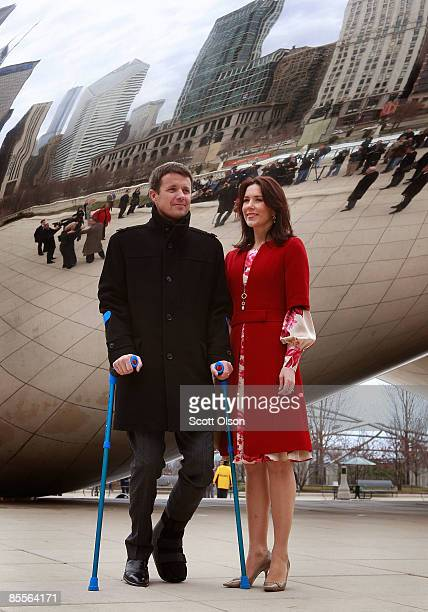 Danish Crown Prince Frederik and Princess Mary visit Cloud Gate a sculpture by British artist Anish Kapoor following the opening of the Climate...