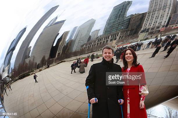 Danish Crown Prince Frederik and Princess Mary vist Cloud Gate a sculpture by British artist Anish Kapoor following the opening of the Climate Energy...