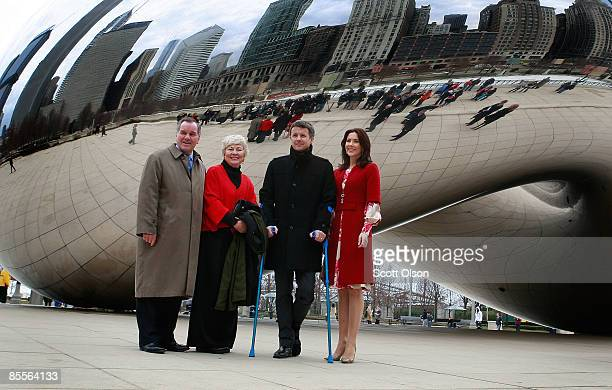 Danish Crown Prince Frederik and Princess Mary with Chicago Mayor Richard Daley and his wife Maggie visit Cloud Gate a sculpture by British artist...