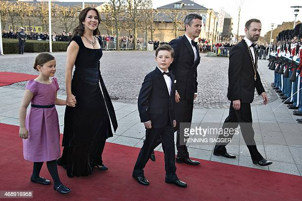 Danish Crown Prince Frederik Crown Princess Mary Prince Christian and Princess Isabella arrive for the Queen's birthday event at the Concert Hall...