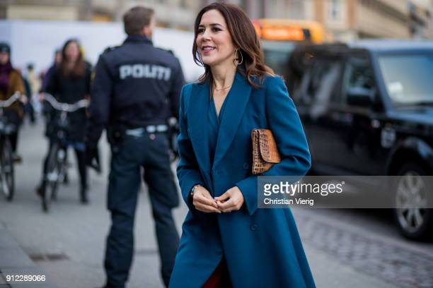Danish Crown Princess Mary of Denmark, Mary Elizabeth Donaldson is seen outside Designers Nest during the Copenhagen Fashion Week Autumn/Winter 18 on...