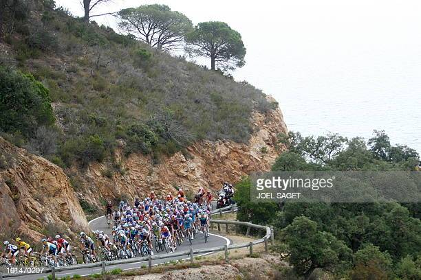 Danish cycling team Team Saxo Bank 's rider Fabian Cancellara of Switzerland rides in the pack on July 9 2009 in the 175 km and sixth stage of the...