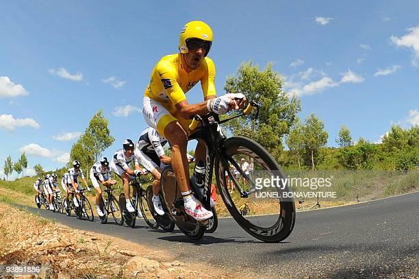 Danish cycling team Team Saxo Bank 's rider Fabian Cancellara of Switzerland rides ahead of teammates onJuly 7 2009 in the 39 km team timetrial and...