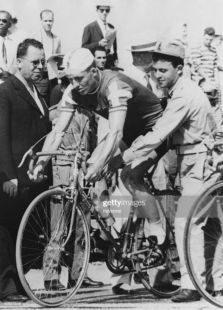 Danish cyclist Knud Enemark Jensen (1936 � 1960) before the start of the 100 kilometre team time trial at the Rome Olympics, 26th August 1960. During the race, Jensen collapsed with heat stroke and suffered a fractured skull, dying later in hospital. His body tested positive for the drugs amphetamine and Roniacol at a subsequent autopsy.