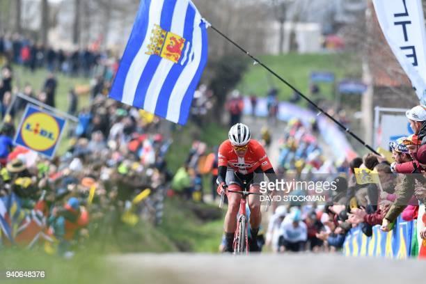 Danish cyclist Mads Pedersen of the Trek-Segafredo team pedals uphill during the 102nd edition of the 'Ronde van Vlaanderen - Tour des Flandres -...