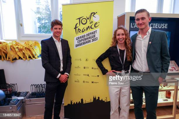 Danish cyclists Jakob Fuglsang and Cecilie Uttrup Ludwig and Mikkel Bjerg at La Maison Du Danemark during The 109th Tour De France presentation on...