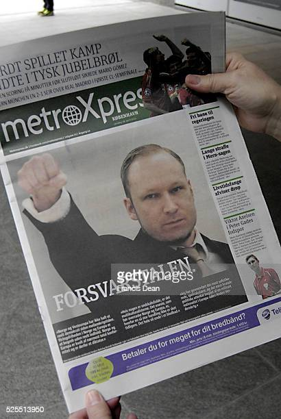 Danish dailies has Anders Breivik on coverages pages a mass killer last summer on Norwegain island Utoya and Olso after his court appearance in oslo...