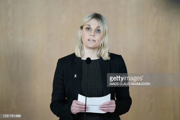 Danish Defence Minister Trine Bramsen addresses a press conference in Copenhagen on March 16, 2021 to inform that Denmark will deploy a frigate to...
