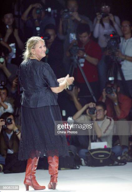 Danish designer Malene Birger attends a fashion show of her designs at the Shanghai Fashion Week on November 3 2005 in Shanghai China Designers from...