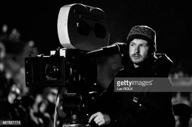 Danish director Lars Von Trier looks into the camera on the set of his film Europa