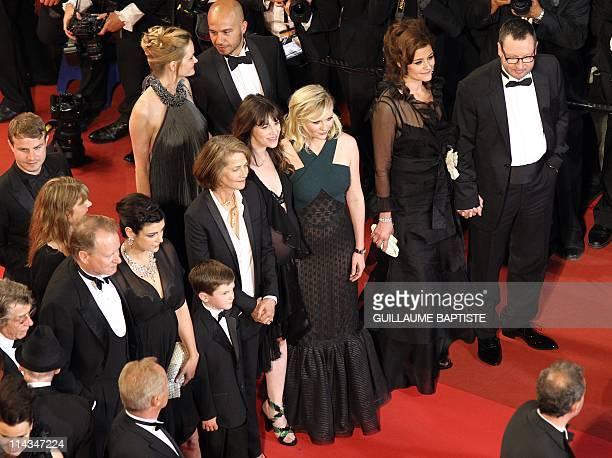 Danish director Lars Von Trier wife Bente Froge US actress Kirsten Dunst French actress Charlotte Gainsbourg and British actress Charlotte Rampling...