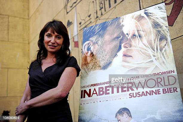 Danish director Susanne Bier nominated for the Golden Globe award for Best ForeignLanguage Film for In A Better World poses before speaking at a...