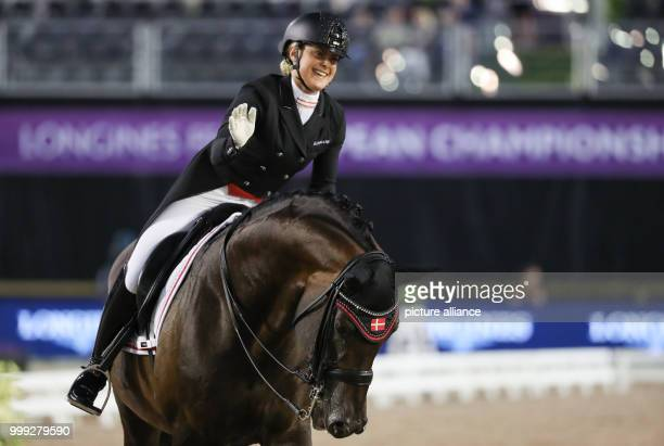 Danish dressage rider Anna Zibrandtsen on the horse Arlando pictured riding during the Dressage Grand Prix of the FEI European Championships 2017 in...