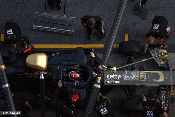 Danish driver Kevin Magnussen of American team Rich Energy Haas F1 Team driving his singleseater during Barcelona winter test in Catalunya Circuit in...