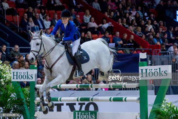 Danish equestrian Linnea EricssonCarey on Contenance 15 rides in the Accumulator Show Jumping Competition during the Gothenburg Horse Show in...