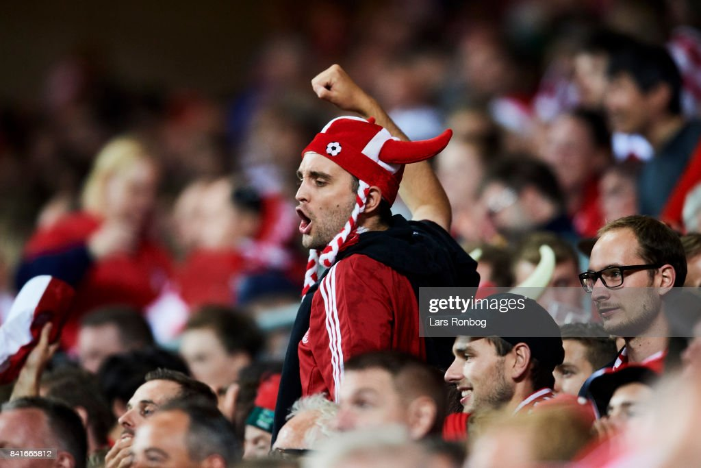 A danish fan celebrate during the FIFA World Cup 2018 qualifier match between Denmark and Poland at Telia Parken Stadium on September 1, 2017 in Copenhagen, Denmark.