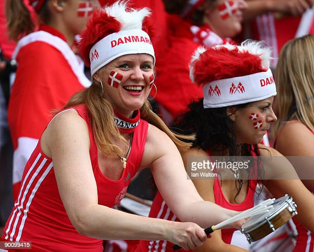 Danish fan looks on during the UEFA Women's Euro 2009 group A preliminary match between Ukraine and Denmark at the Helsinki football stadium on...