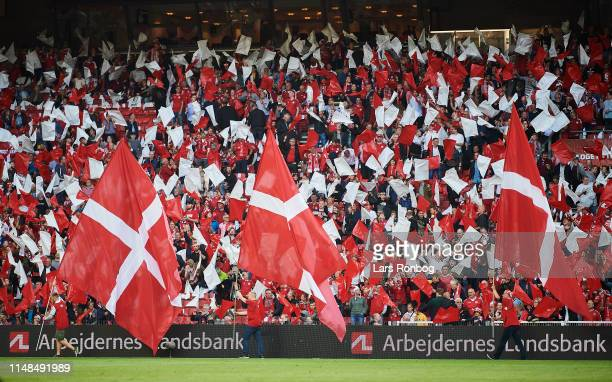 Danish fans and flags Dannebrog prior to the UEFA Euro 2020 Qualifier match between Denmark and Ireland at Telia Parken on June 6, 2019 in...