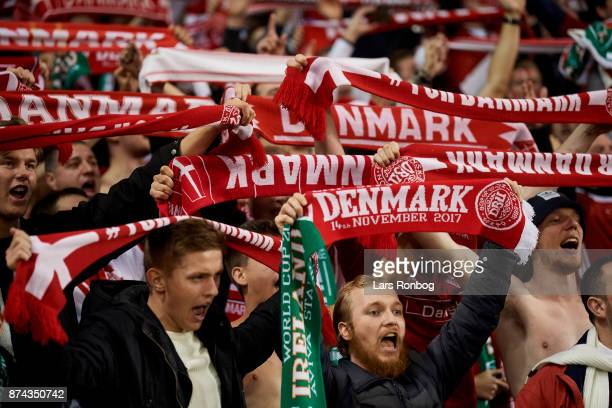 Danish fans celebrate during the FIFA 2018 World Cup Qualifier PlayOff Second Leg match between Republic of Ireland and Denmark at Aviva Stadium on...