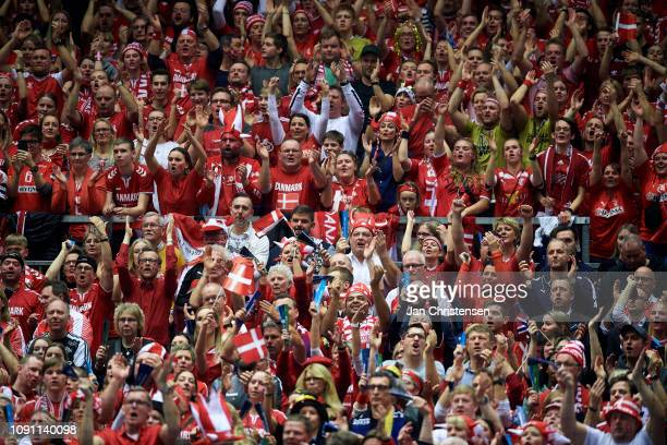 Danish fans celebrate during the IHF Men's World Championships Handball Final between Denmark and Norway in Jyske Bank Boxen on January 27, 2019 in...