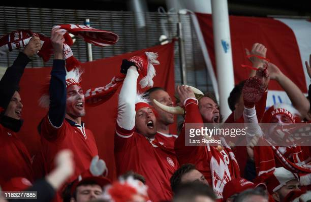 Danish fans celebrate during the UEFA EURO 2020 Qualifier match between Ireland and Denmark at Aviva Stadium on November 18, 2019 in Dublin, Ireland.