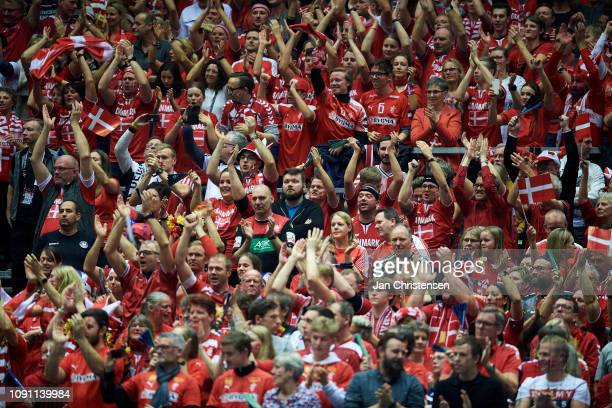 Danish fans celebrates during the IHF Men's World Championships Handball Final between Denmark and Norway in Jyske Bank Boxen on January 27, 2019 in...