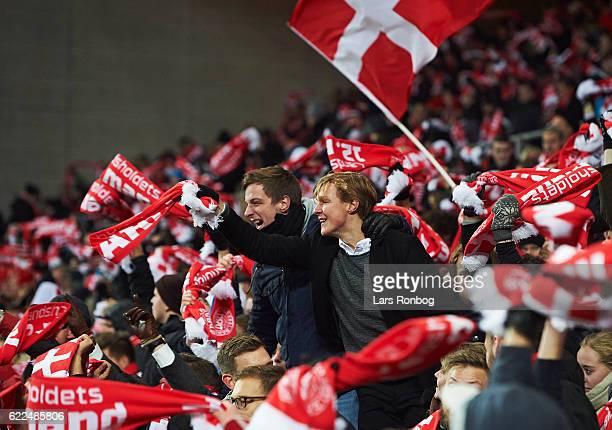 Danish fans cheer after the FIFA 2018 World Cup Qualifier match between Denmark and Kazakhstan at Telia Parken Stadium on November 11 2016 in...