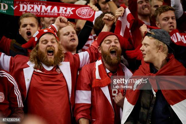 Danish fans cheer after the FIFA 2018 World Cup Qualifier PlayOff Second Leg match between Republic of Ireland and Denmark at Aviva Stadium on...